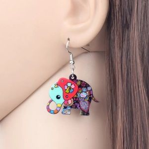 multicolor Acrylic Cartoon Floral Jungle Elephant